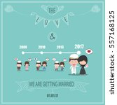 duration cute cartoon wedding... | Shutterstock .eps vector #557168125