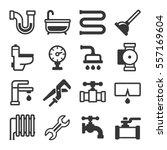 plumbing icons set on white...   Shutterstock .eps vector #557169604