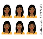 young women faces isolated on...   Shutterstock .eps vector #557172595