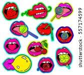 fun set of female lips stickers ... | Shutterstock .eps vector #557174599