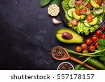 ingredients for making salad on ... | Shutterstock . vector #557178157