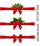 christmas red ribbon decoration ... | Shutterstock .eps vector #557187505