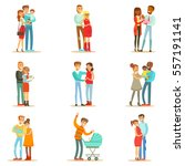 young and expecting parents... | Shutterstock .eps vector #557191141