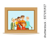 happy family having good time ... | Shutterstock .eps vector #557191927
