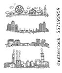 set of drawings of panoramas of ... | Shutterstock .eps vector #557192959