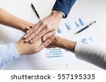 teamwork power successful... | Shutterstock . vector #557195335