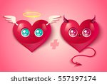 devil and angel hearts on pink...