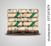 folded bags on the pallet ... | Shutterstock .eps vector #557197879