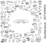 hand drawn doodle fast food... | Shutterstock .eps vector #557199451