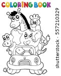 coloring book animals in car  ... | Shutterstock .eps vector #557210329