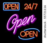 Set Of Glowing Neon Open Signs...