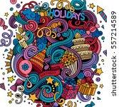 cartoon hand drawn doodles... | Shutterstock .eps vector #557214589