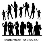 girl and man black silhouettes... | Shutterstock .eps vector #557222527
