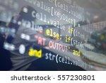software developer programming... | Shutterstock . vector #557230801