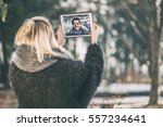 a couple talking over a video... | Shutterstock . vector #557234641