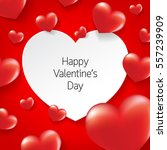 glossy red hearts with white... | Shutterstock .eps vector #557239909