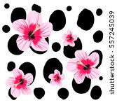 spots pattern tropic pink... | Shutterstock .eps vector #557245039