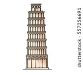 pisa tower vector  italy. | Shutterstock .eps vector #557256691
