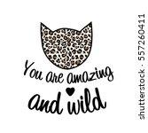 leopard print cat fashion... | Shutterstock .eps vector #557260411