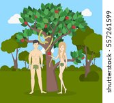 adam and eve near the apple... | Shutterstock .eps vector #557261599