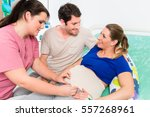 pregnant woman and her man in... | Shutterstock . vector #557268961