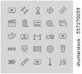 outline icons   movie  cinema ... | Shutterstock .eps vector #557270059