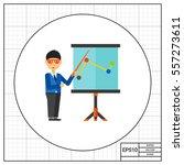 training teacher at flipchart... | Shutterstock .eps vector #557273611