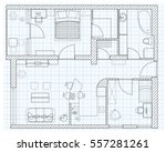 black and white floor plan... | Shutterstock .eps vector #557281261