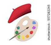 painting palette and beret icon ... | Shutterstock .eps vector #557282245