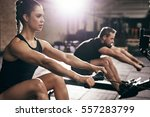 sportive man and woman doing... | Shutterstock . vector #557283799
