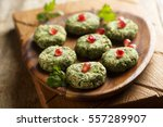 spinach appetizer with... | Shutterstock . vector #557289907