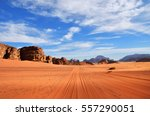 dirt road in the wadi rum  moon ... | Shutterstock . vector #557290051