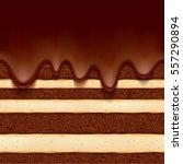 chocolate sponge cake with... | Shutterstock .eps vector #557290894