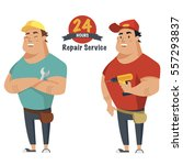 repair man with wrench and... | Shutterstock .eps vector #557293837