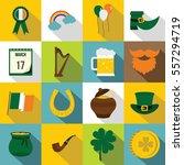 saint patrick icons set. flat... | Shutterstock .eps vector #557294719