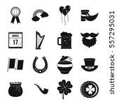 saint patrick icons set. simple ... | Shutterstock .eps vector #557295031