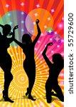 three black figures dancing in... | Shutterstock . vector #55729600