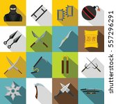 Japanese Ninja Tools Icons Set...