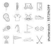 golf items icons set. outline...   Shutterstock .eps vector #557296399