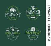 set of badge for farmers market ... | Shutterstock .eps vector #557298217
