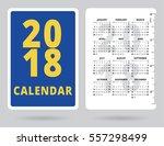 pocket calendar 2018 with inch... | Shutterstock .eps vector #557298499