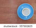 Empty Blue Coffee Cup On Wood