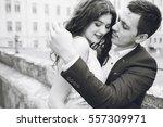 beautiful bride hugging | Shutterstock . vector #557309971