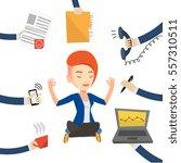 caucasian hard working business ... | Shutterstock .eps vector #557310511