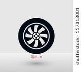 wheel vector icon  flat design... | Shutterstock .eps vector #557313001