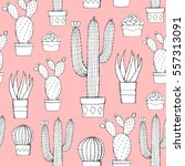 cactus and succulent seamless... | Shutterstock .eps vector #557313091