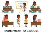 african student studying hard... | Shutterstock .eps vector #557320051