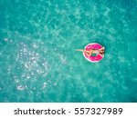 aerial view of young brunette... | Shutterstock . vector #557327989