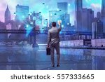 businessman in cloud computing... | Shutterstock . vector #557333665