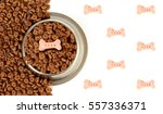 dog bowl with pet feed on the... | Shutterstock . vector #557336371